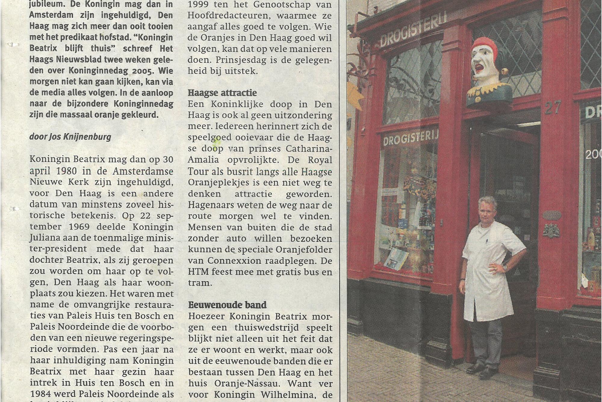 Oude krant Drogisterij van der Gaag Den Haag